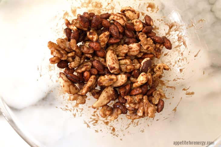 Nuts mixed with maple spice mixture
