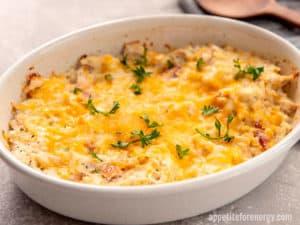 KETO Chicken Cauliflower Rice Casserole in white baking dish