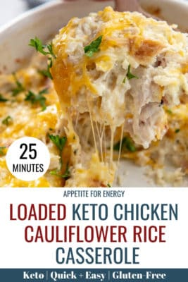 A serving of KETO Chicken Cauliflower Rice Casserole with melted cheese
