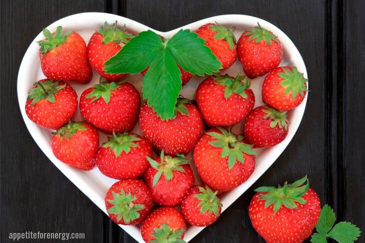 Strawberries in heart shape - keto fruit