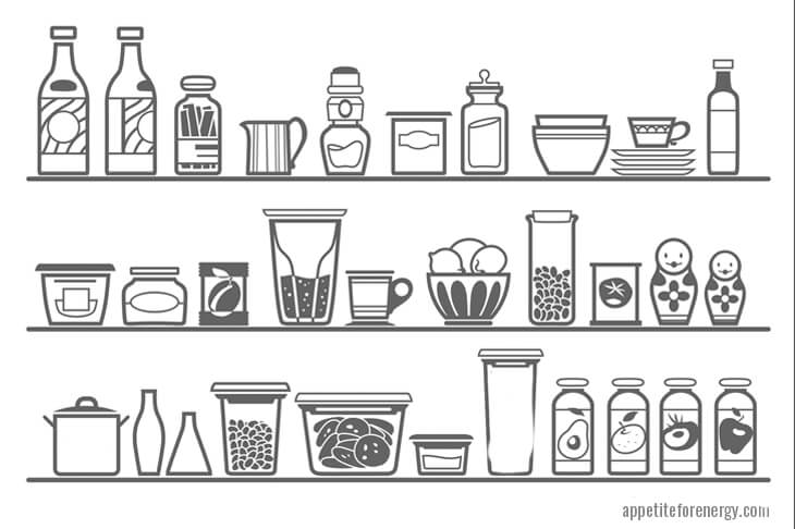 Black and white illustration of 3 pantry shelves with food
