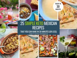 Collage with 8 of the simple Keto Mexican Food recipes for Cinco de Mayo