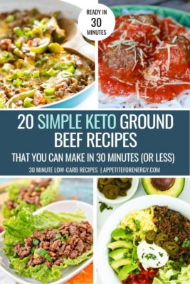Collage with 4 of the simple ground beef keto recipes