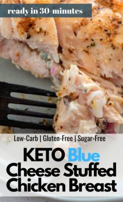 A fork picking up KETO Grilled Mushroom Stuffed Chicken Breast
