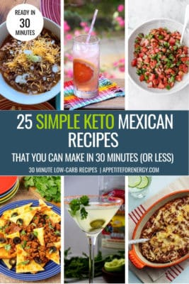 Collage with 6 of the simple Keto Mexican Food recipes for Cinco de Mayo