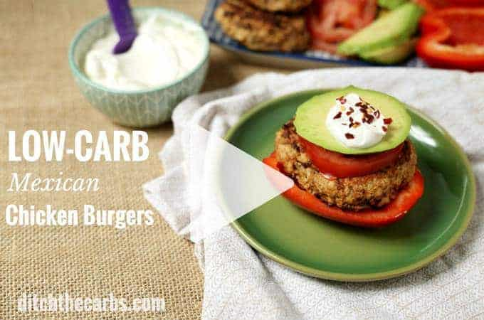 Low-Carb Mexican Chicken Burgers