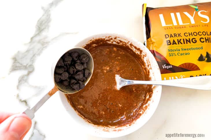 Adding Lilys sugar free chocolate chips to batter for keto mug cake