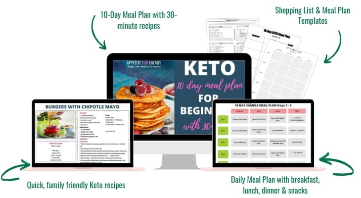 mockup of eBook showing images from 10 day meal plan on computer and ipad