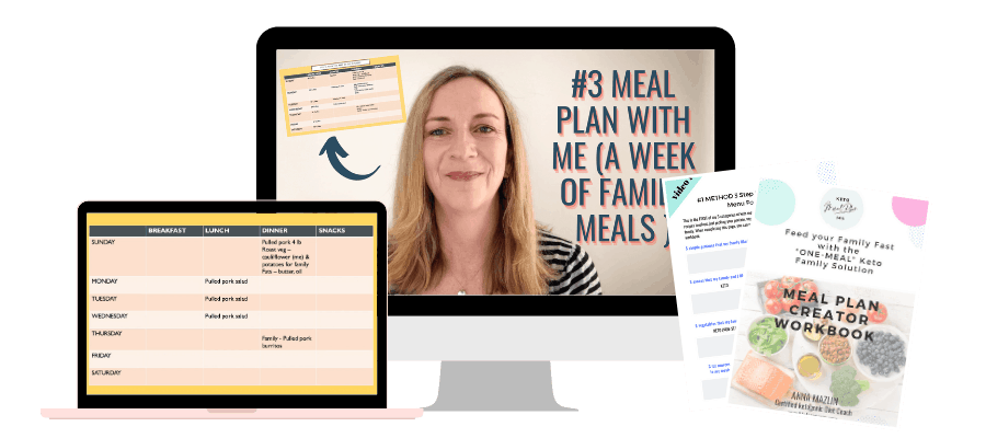 PC, ipad showing images from the workshop and Meal Plan Template