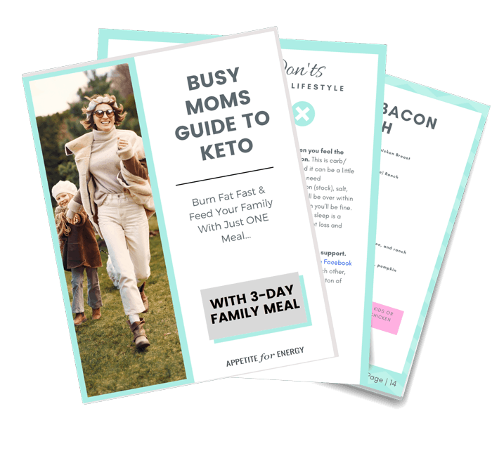 KETO BUSY MOMS GUIDE TO KETO with 3 Day meal plan mockup of download